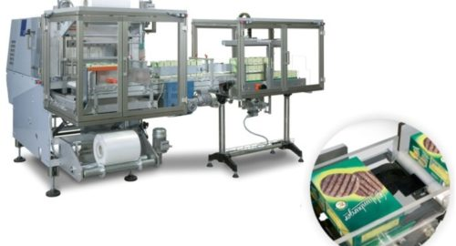 FIVE: Shrink packaging of food boxes or frozen foods with stacker